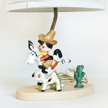 Vintage 1960s Western Cowboy Lamp, Dolly Toy Co Ceramic Boy on Horse with Cow Cactus Light, Babies or Kids Room Decor (no shade)