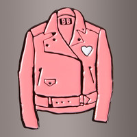 Pink Leather Jacket Pin by Banana Bones