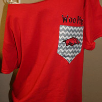 Arkansas Razorbacks Pocket OfftheShoulder by SewSnazzybyBrook