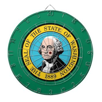 Dartboard with Flag of Washington, USA