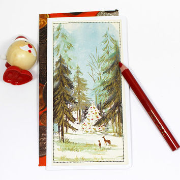 greeting card vintage with envelope | Christmas | handmade  upcycled | forest