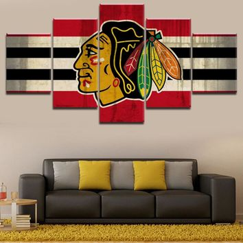Modern Wall Art Pictures Framework  Canvas HD Printed Painting 5 Pieces Chicago Blackhawks Logo Posters For Living Room Decor