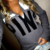 """Pink"" Victoria's Secret Casual Letter Print Long Sleeve V-Neck Hoodie Top Sweater Sweatshirt"