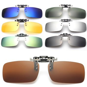 Unisex Polarized Day Night Vision UV400 Lens Clip-on Flip-up Sunglasses Glasses NEW