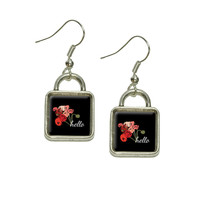Hello Bouquet Flowers Ranunculus Square Dangle Drop Earrings