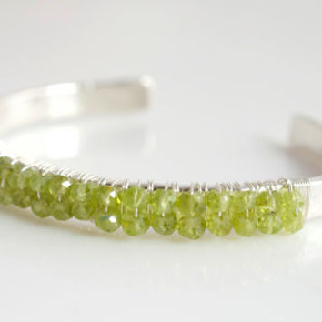 Peridot Bangle Bracelet, Green Bangle Bracelet, Gemstone Bangle Bracelet