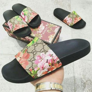 Gucci Casual Fashion Women Floral Print Sandal Slipper Shoes-2
