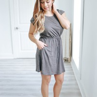 Sidewalk Stroll Dress - Charcoal