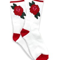 Red Rose Socks - White