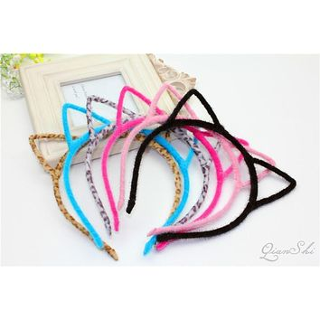 hair hoops Cat Ear Hairband cute Tiara headband Hairwear striped fluorescence Headband colorful Hair Jewelry For Party Gift