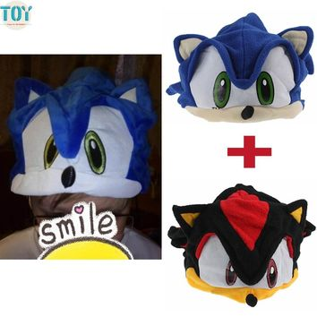 OHMETOY 2PCS Sonic Hat The Hedgehog Fleece Cosplay Beanie Cap Black Blue Anime Costumes Birthday Gift for Adults Teenagers