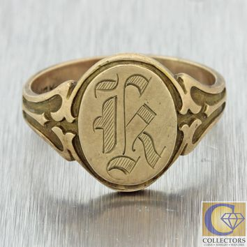 1880s Antique Victorian 10k Yellow Gold Engraved Monogrammed Signet Ring