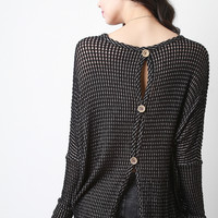 Loose Knit Button-Up Back Top