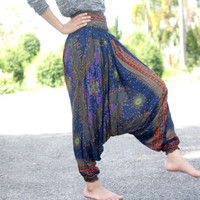 Thai fisherman pants palazzo pants harem pants/elephant pants/yoga pants/pyjamas/hippie clothes/Aladdin Pants/bohemian style/baggy pants