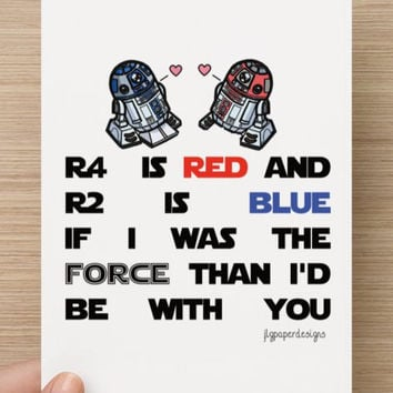 Buy 1 Get 1 FREE  Star Wars Valentines Day Card R2d2 R4d4  Funny