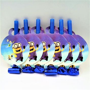 6Pc Colorful minions cartoon Funny Whistles Childrens Birthday Party Blowing Dragon Blowout Baby Birthday Supplies minions 06