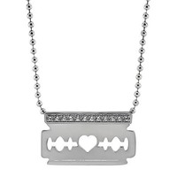 Diamond Razor Blade Pendant and Chain
