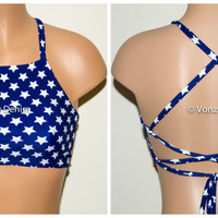 American Blue & White Stars High Neck Halter Bikini Top, Criss Cross Adjustable Swimwear Bikini Top, 4Th Of July Bathing Suit, Festival Top