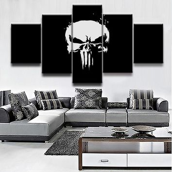 5 Pieces Comics Marvel The Punisher Black White Skull Poster Wall Art Panel