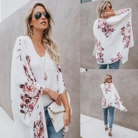 New Summer Women Print Long Sleeve Chiffon Cardigan Coat