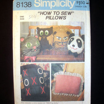 How to Sew Pillows, Panda, Cat, Lion, Owl Pillows Vintage Simplicity 8138 Sewing Pattern Uncut