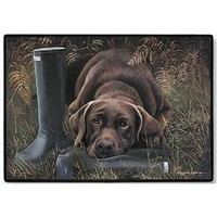 "Doormat - D20 Chocolate Lab with Boots - 18"" x 27"" Indoor/Outdoor Designer Mat $26.48"