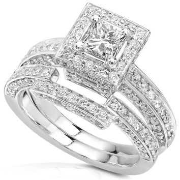 Diamond Wedding Set 1 1/4 Carat (ctw) in 14K White Gold