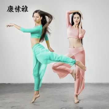 KSUA new design dance rhyme clothing winter autumn yoga suit fitness wear female navel slim dancing with bra