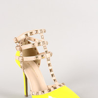 Neon Patent Pyramid Studded T-Strap Pump