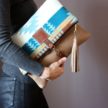 Native American Leather fold over clutch, fold over bag, fold over purse, wool fabric and Nude leather clutch with leather tassel