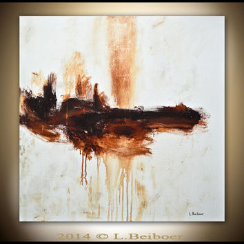 Abstract painting 30x30 original square large painting sand umber abstract raw modern art by L.Beiboer