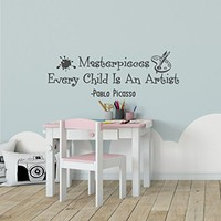 WonderWallzStore Masterpieces Wall Decal Every Child Is An Artist - Art Display Wall Decal - Pablo Picasso Wall Decal Quote - Playroom Wall Decal Nursery Art