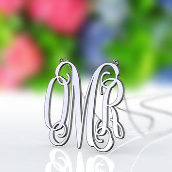 Silver OMR monogram style necklace--1.5 inch monogram customized necklace 925 sterling silver