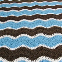 Baby Ripple Blanket - Made to Order - Boy blanket, blue, brown, white ripples