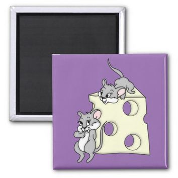 Cute Mice and Cheese Graphic 2 Inch Square Magnet