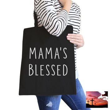 Mama's Blessed Black Canvas Teacher Tote Bag For Mother's Birthday
