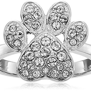 Sterling Silver Paw Print Ring Made with Swarovski Crystal Size 7