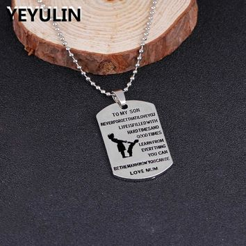 New Arrival Mother Son Military Army Dog Tag Son Love Mom Carving Pendant Necklace Jewelry