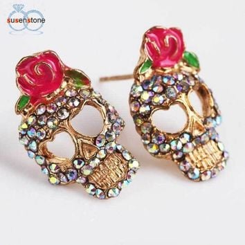 Pink Rose Rhinestone Skeleton Skull Ear Studs Earrings Jewelry