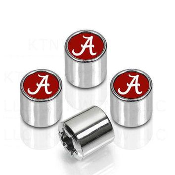 Licensed Official NCAA Alabama Crimson Tide Car Truck Plastic Chrome Finish Tire Valve Stem Caps