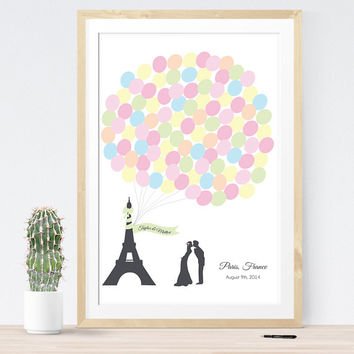 Wedding guest book alternative paris french eiffel tower custom guestbook print guest sign in board