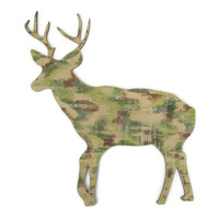 Camouflage Buck Wall Decor rustic cabin sign, lodge decor, deer wall hanging hand painted wood in chocolate brown and khaki, deer antlers