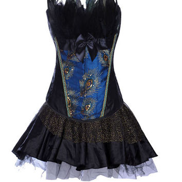 Blue Peacock Print Feather Corset with Skirt