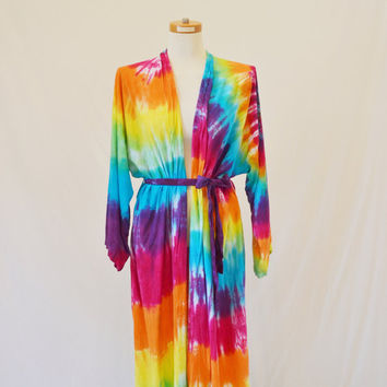 Tie Dye Robe, Rainbow Colors, Women's Rayon Robe, Hippie Clothes