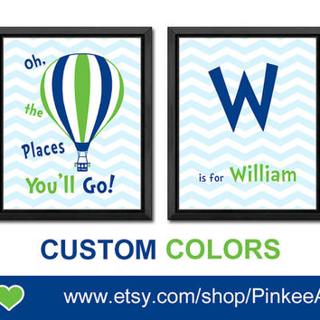 blue green hot air balloon baby room decor dr seuss kids room decor chevron new baby gift initial nursery oh the places you'll  baby gift