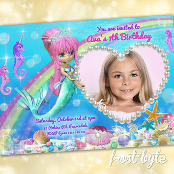 Mermaid Party Invitation - personalised with photo - Girls birthday - custom invitation - digital file to print as many times as you like