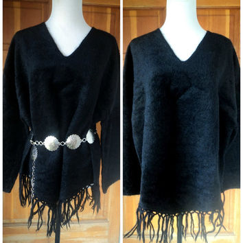 Vintage Sweater Hairy Poncho Fringe Hippie Outerwear Bohemian Poncho Soft Furry Sweater Festival 52 B