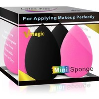 High-End Micro Mini Sponge Makeup Beauty Blender for Applicator, Foundation and Highlight (2 Pink +...
