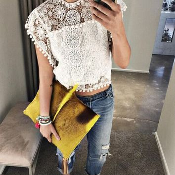 Pompom Lace Patchwork T-Shirt