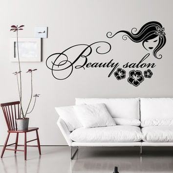 Wall Decal Fashion Beauty Salon Face Girl Woman Long Hair Design Vinyl Decals Wedding Hair Salon Hairdressing Living Room Home Decor 3772